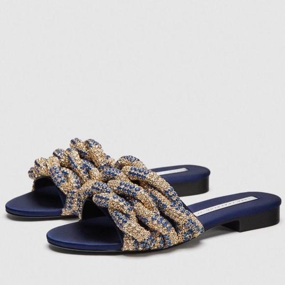 fb26af17ba5f ZARA Braided Gem Encrusted Slides Sandals SZ 6.5